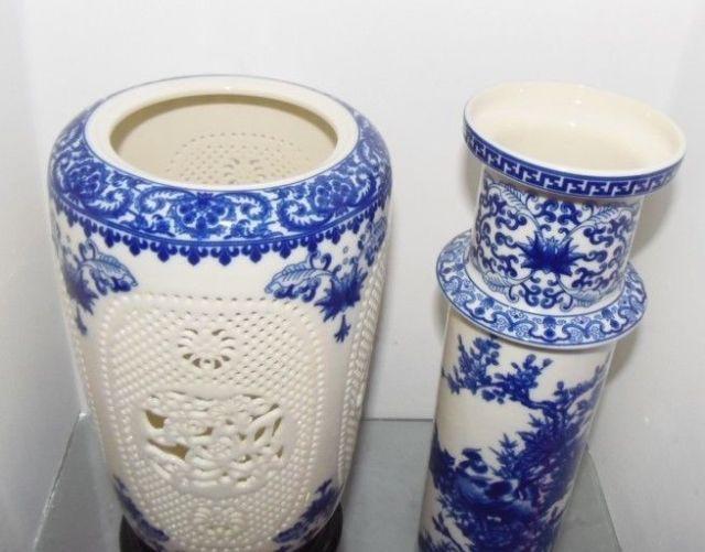 Prekrasan kineski porculan 2 postavljen dvostruko šuplje rezbarene - Kućni dekor - Foto 4