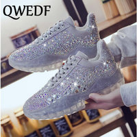 QWEDF Autumn Women Casual Shoes Comfortable Platform Shoes Woman Sneakers Ladies Trainers transparent Rhinestone shoes GB 38