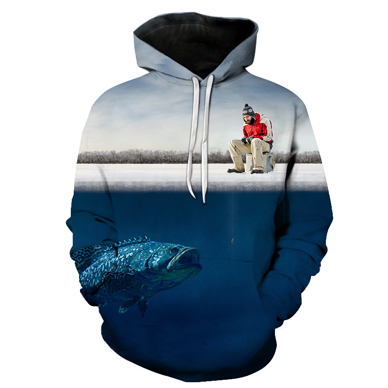 Novel Anime elegant fish print fashion 3D hooded sweatshirt cool pullover Dropshipping and Wholesale gone ice fishing hoodie