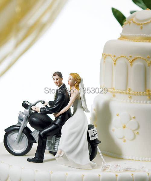 Wholesale Free Shipping Love Swept Bride Groom Funny Wedding Cake Topper