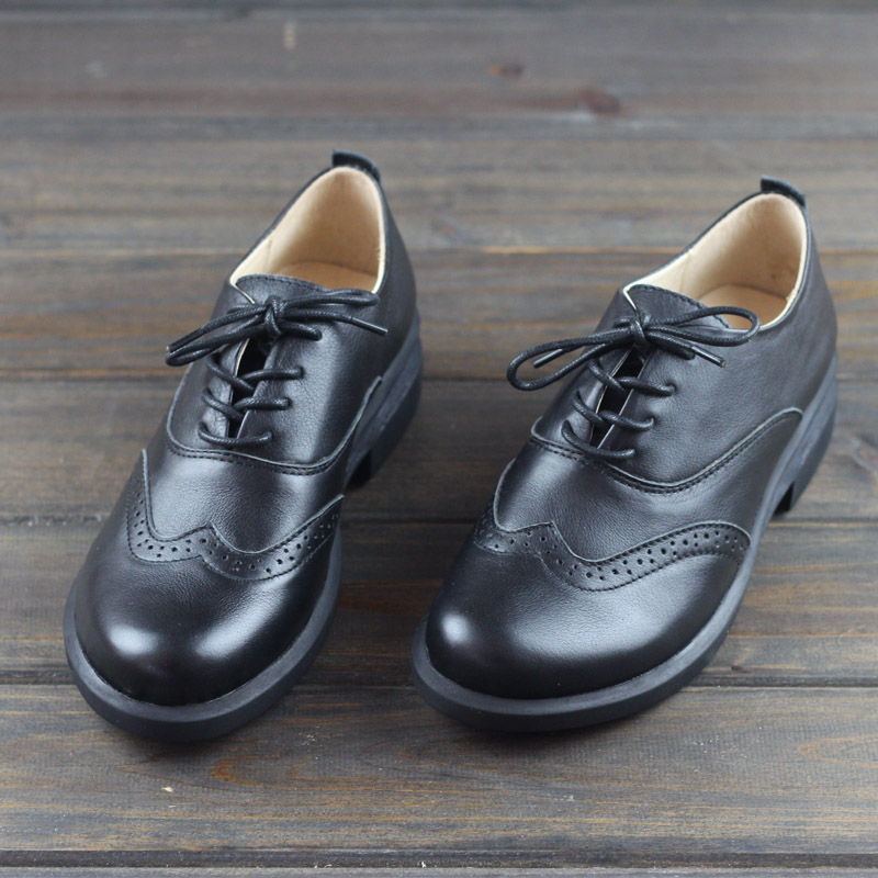 Women's Shoes Oxfords Lace Up Ladies Flat Shoes 100% Genuine Leather Black Brogue Woman Shoe Female Footwear (h87)