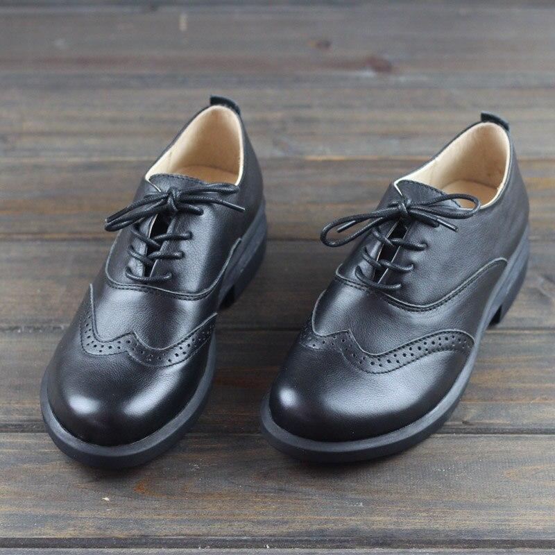 Chaussures pour femmes Oxfords à lacets dames chaussures plates 100% en cuir véritable noir brogue femme chaussures femme (h87)