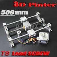 3D Printer guide rail sets T8 Lead screw length 500mm + linear shaft 8*500mm+KP08 SK8 SC8UU+ nut housing +coupling + step motor