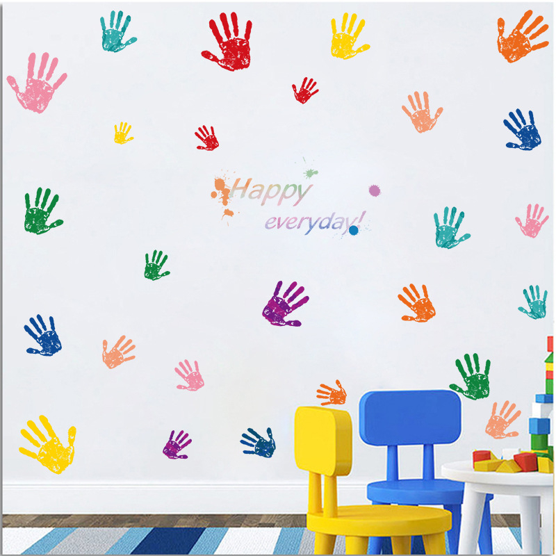 Colorful Parent Child Hand Handprint Baby Kids Room Wall Sticker Poster  Home Decoration Removable DIY Wall Decals  In Wall Stickers From Home U0026  Garden On ... Part 73