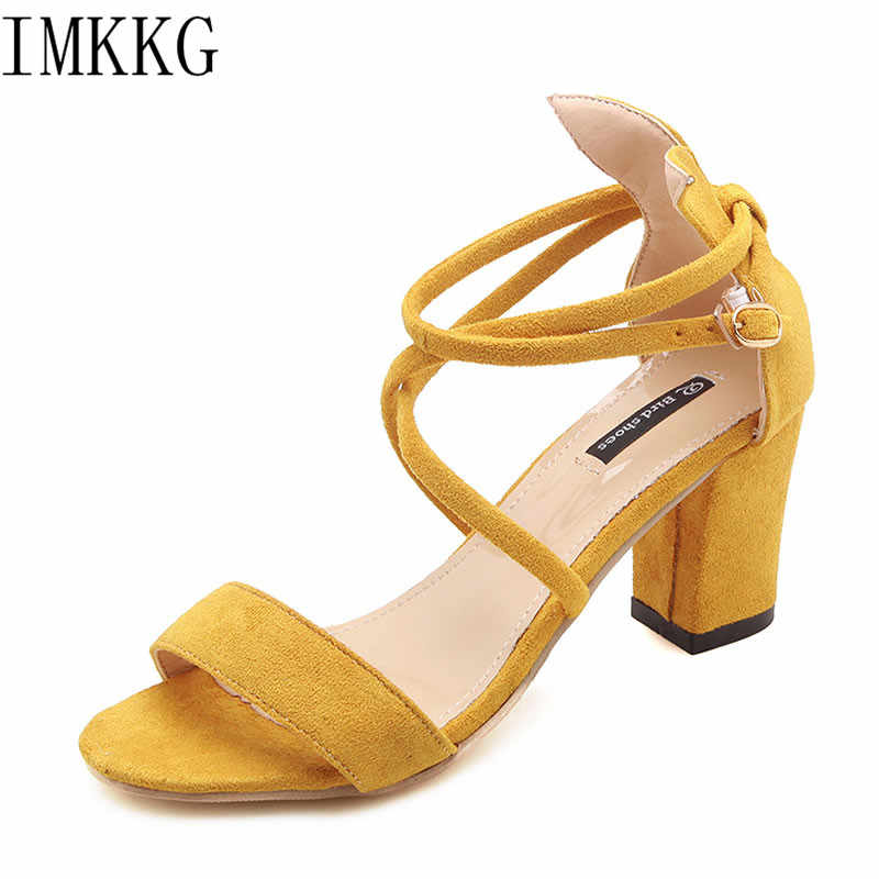 278a4fad3bf Ladies Shoes 2018 Summer Gladiator Sandals Women High Heels Sandals Party  Wedding Shoes yellow Ladies Sandals