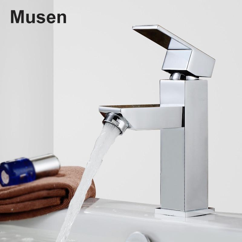 ФОТО Luxury Bathroom Hot Cold Water Faucet Chrome Finish Single Handle Brass Bathroom Sink Faucet
