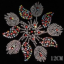 2pc/lot Colorful flower design rhinestones motif hot fix rhinestone transfer motifs iron on crystal transfers