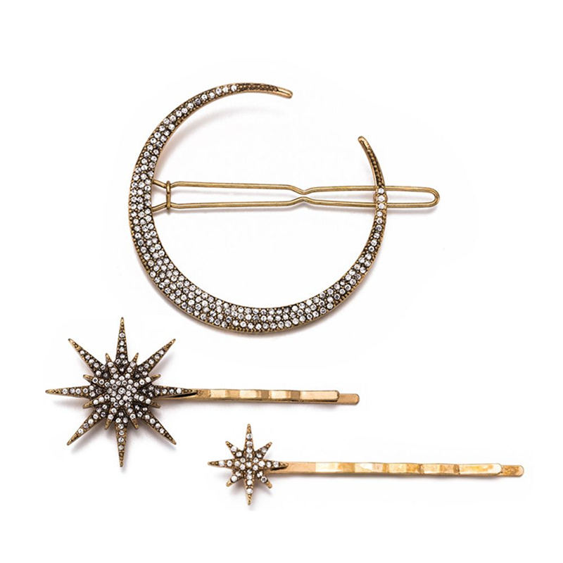 1 PC/3PCs Star Moon Rhinestone Hair Clip Hairpin Women Girls Jewelry Fashion Styling  Accessories