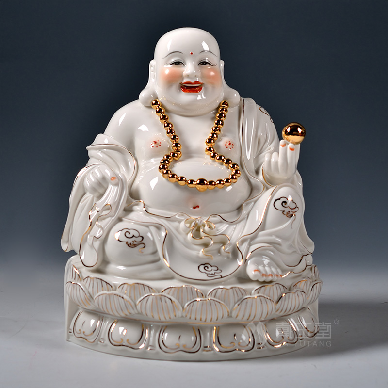 Dai Yutang home decoration ceramic Buddha/11 13 inch gold ancient Lotus laughing Buddha Maitreya D01 247