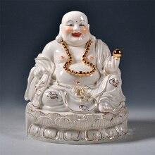 Dai Yutang home decoration ceramic Buddha/11 13 inch gold ancient Lotus laughing Buddha Maitreya D01-247