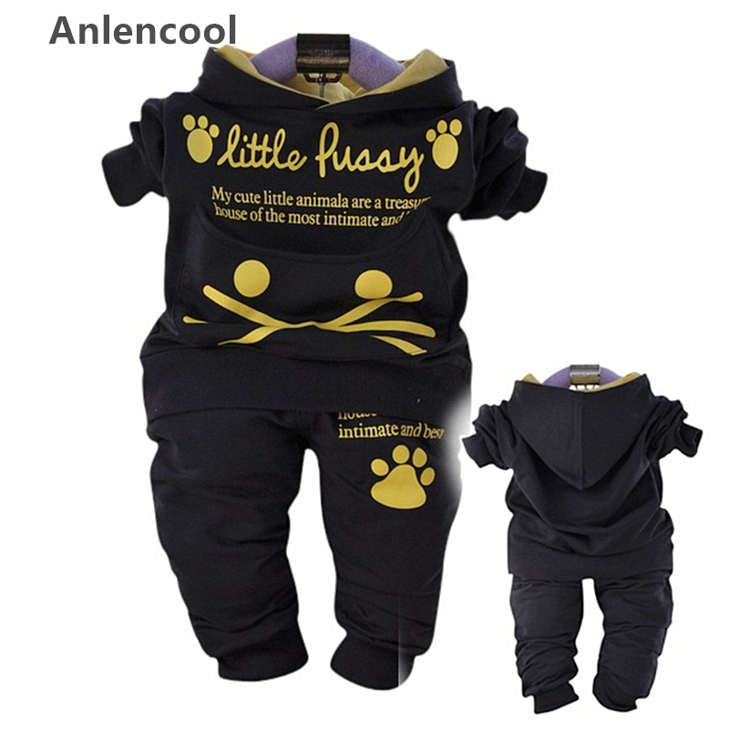 ФОТО Anlencool 2017 Free shipping infant cereal brand baby set  models models fall suit cat baby clothing baby set baby clothing sets