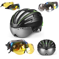 New Cycling Helmet Double Layers In Mold Cycling Helmet With Glasses Goggles Bicycle Helmet With Lens