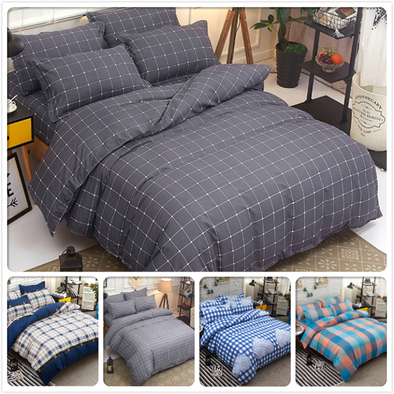 Gray Plaid Big Size Bed Linen 3/4 pcs Bedding Set Double Full King Queen Twin Duvet Cover 1.5m 1.8m 2m 2.2m 2.3m Cotton Bedlinen