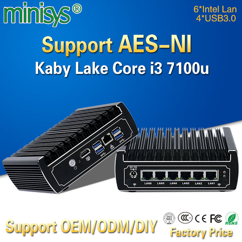 Best Sellers Mini Pc Pfsense 6 GBE Nic Intel Kabylake Core I3 7100U Ubuntu Linux Firewall Cloud Computer Fanless Barebone Server
