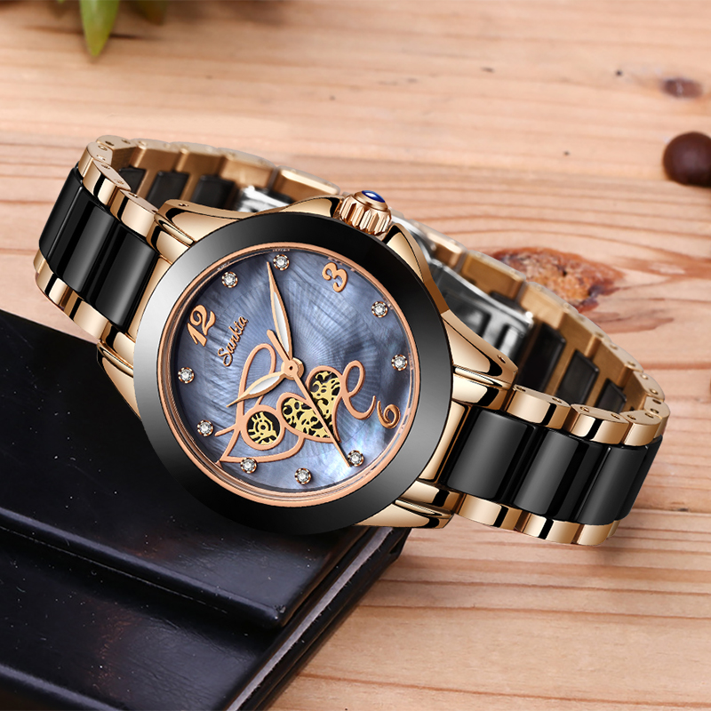 SUNKTA Women Watch Top Brand Luxury Casual Fashion Watch Women Ceramic Waterproof Ladies Watch Diamond Gift Bracelet Reloj Mujer