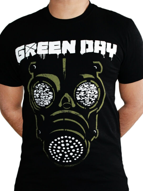 Strong-Willed Green Day Gas Mask Black Album Cover Punk Rock Music Mens T-shirt Tops & Tees