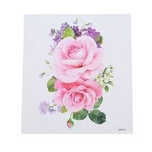Розовые цветы водонепроницаемые тату-наклейки милые романтические влагостойкие женские красивые поп-тату Цветок на руку тату-наклейки