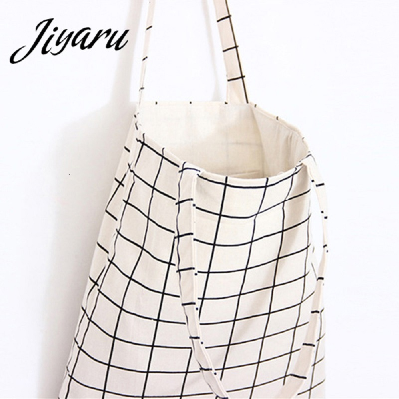 Plaid Canvas Tote Casual Beach Bags Large Capacity Women Shopping Bag Daily Use Canvas Handbags Bolsa Shoulder Bag free shipping casual canvas shopping bags black color with fish pattern shoulder bags shopping bag handbags e08