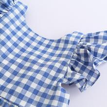 Summer Kids Baby Girls Blue Pink Plaids Ruffles Dress Princess Sleeveless Sundress Baby Girl Clothes Dress Children Clothing