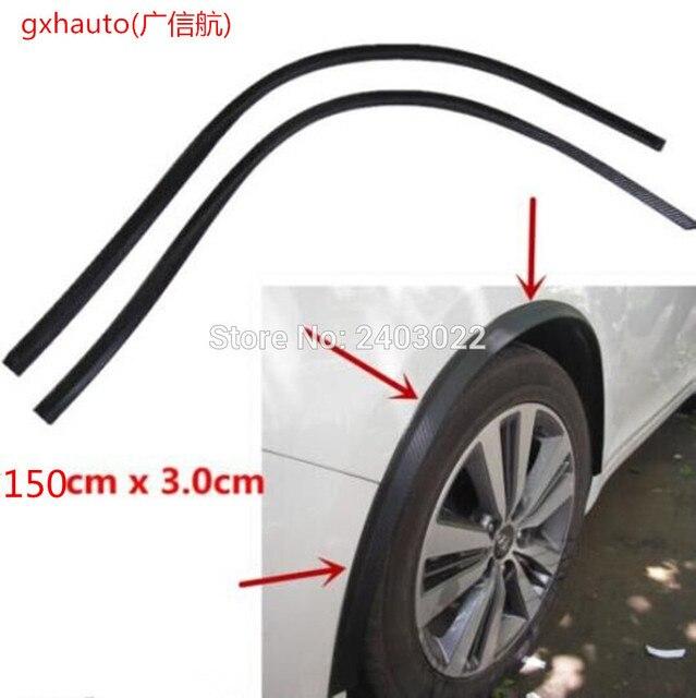 2PCs 150cm universal carbon fiber car fender flare wheel eyebrow protector wheel Arch trim strip Color: Black/Carbon fiber check