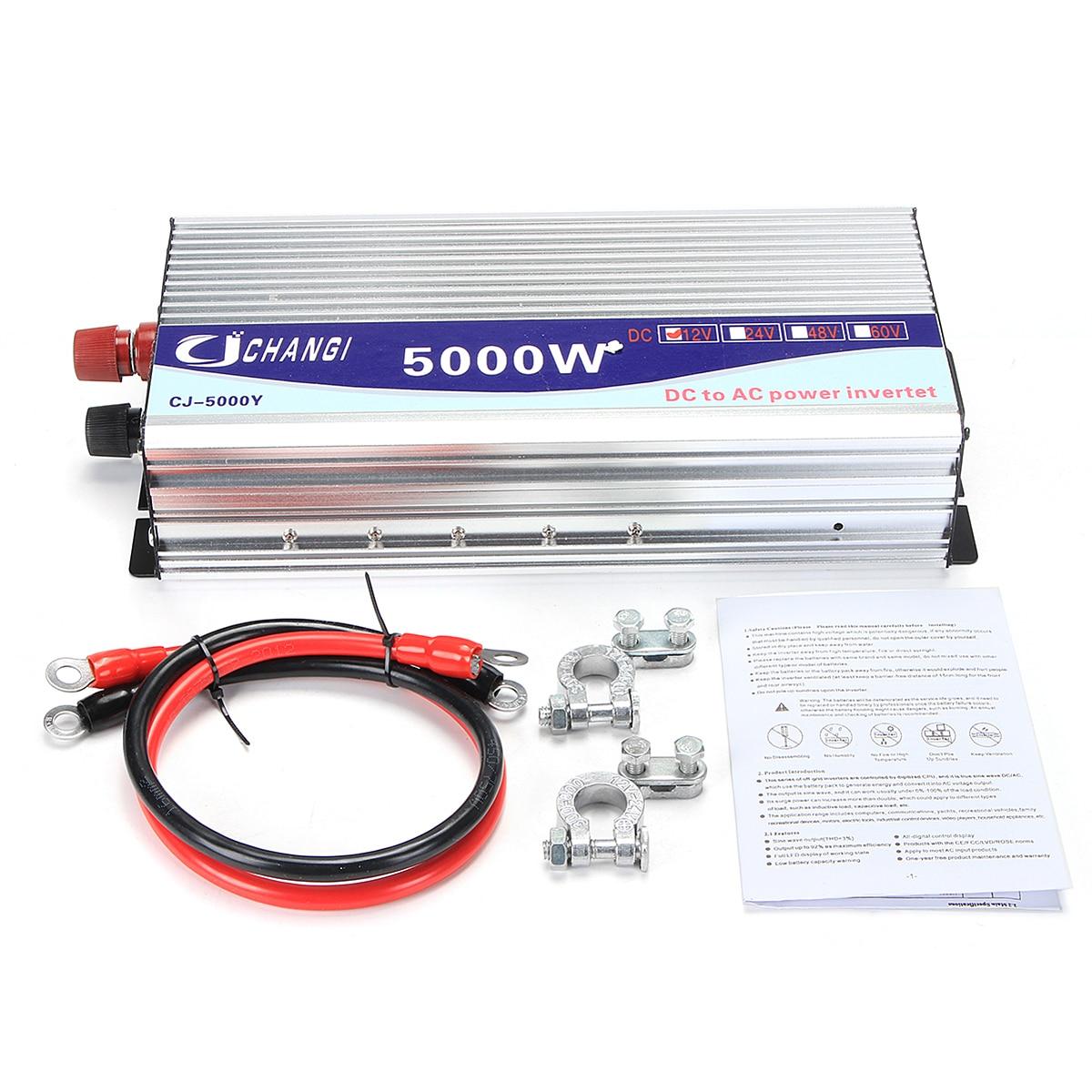 Onduleur 12 V/24 V/48 V 220V 5000W 10000W pics onduleur à onde sinusoïdale modifiée transformateur de tension convertisseur + écran LCD - 6