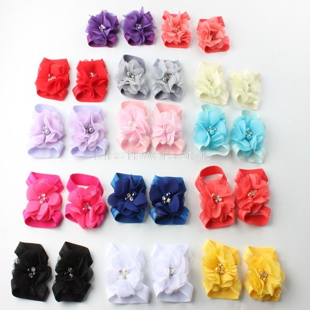 6efdc89e062960 Baby Girls Rhinestone Wrist Flower Foot Band Barefoot Sandals Shoes Photo  Prop Accessories 1 Pairs