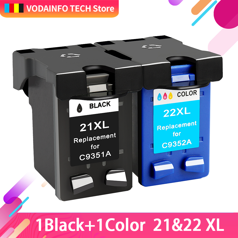QSYRAINBOW Compatible 21 Black color Ink Cartridge Replacement for HP 22 HP21 Deskjet F2280 F4180 F4100 F2100 F2200 F300