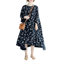 Oversize Women Dress 6XL 7XL 8XL 9XL 10XL Autumn Long Sleeve Music Notes Fashion Black Female
