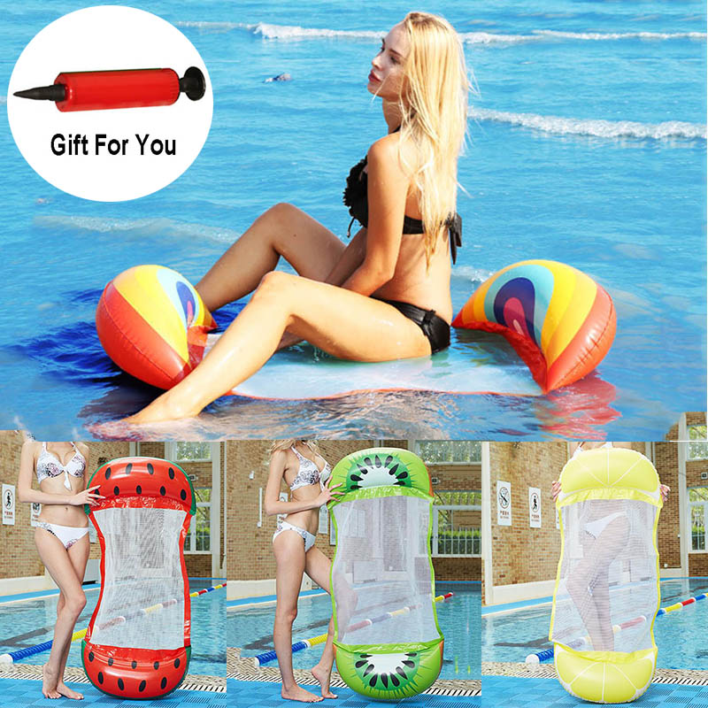 Summer Inflatable Floating Row Chair Pool Air Mattresses Beach Foldable Swimming Pool Fruit Chair Hammock Water Sports Mattress