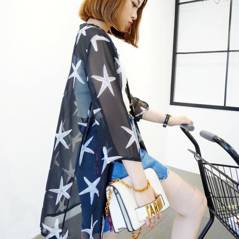 HTB1eunUKb1YBuNjSszeq6yblFXaW - Blusas Mujer De Moda  New Women Summer Chiffon Blouse Pinted Casual Kimono Cardigan Long Blouses Sunscreen Tops Plus Size