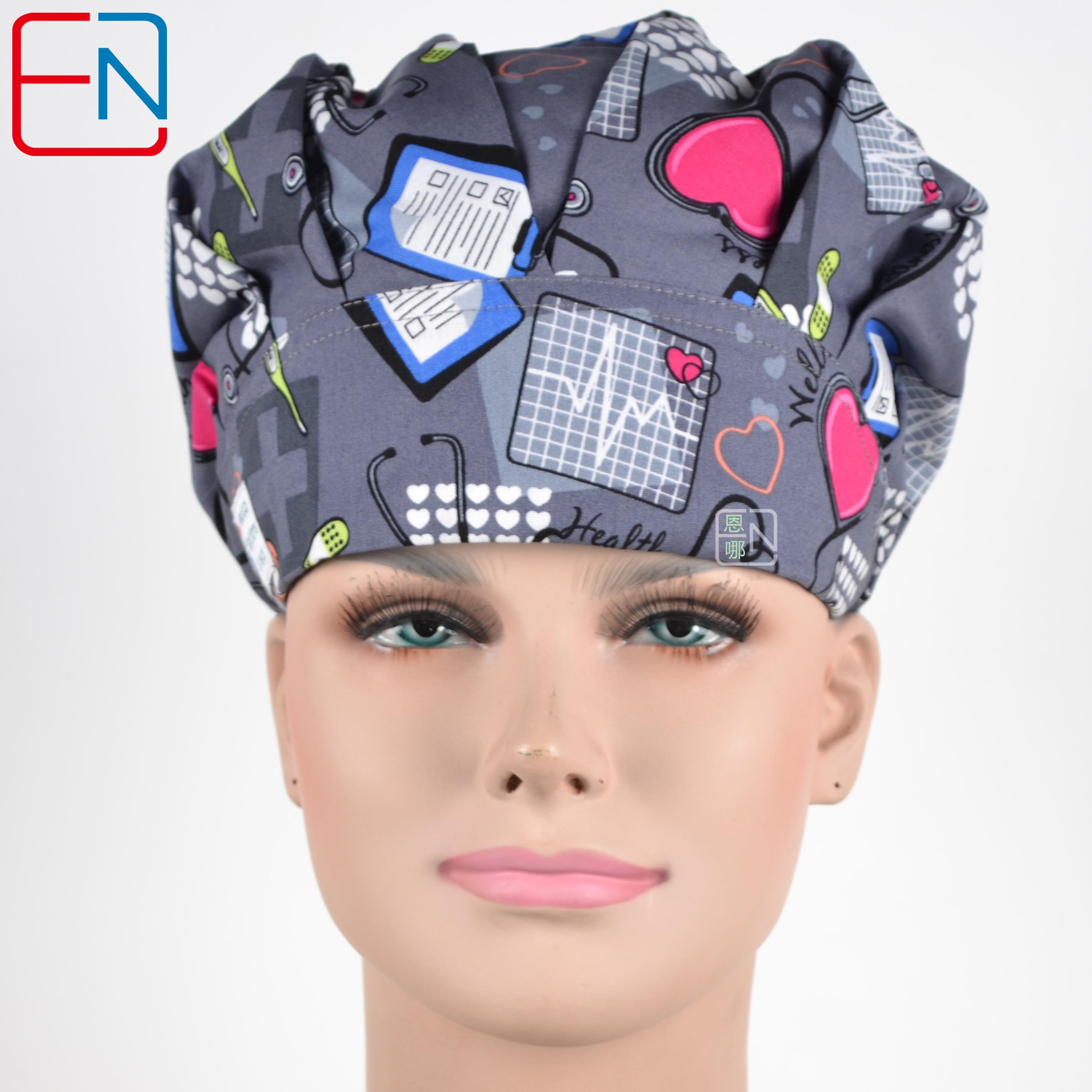 Women Surgical  Bouffant Caps Doctors And Nurses Cap With Printed Cotton Materical And  Free Shipping