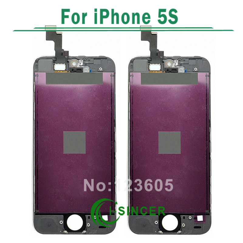 1/PCS For iPhone 5S Black LCD display with touch screen digitizer Assembly Black,White Free shipping