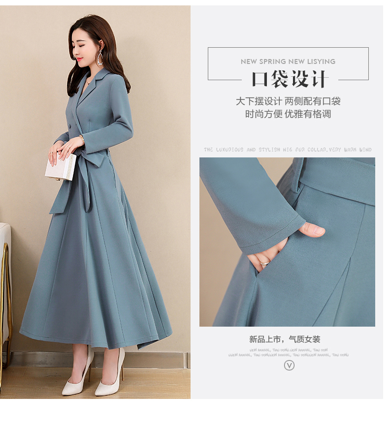 Spring and Autumn 2019 New Women's Dresses Korean Edition Long Sleeve Dresses Overlap Long Popular Temperament with Bottom 115