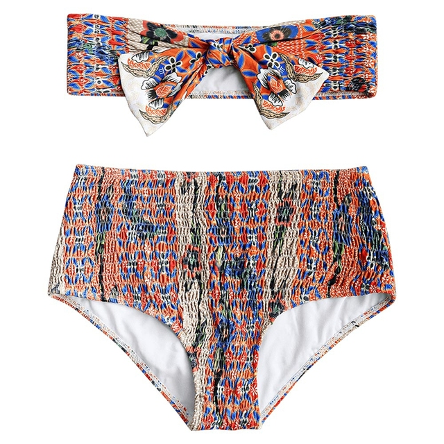 756ad89d01e Women Bandeau Bikinis Smocked Front Bow Bikini Set Swimwear Floral Print  Two Piece Swimsuit High Waist Strapless Bathing Suit
