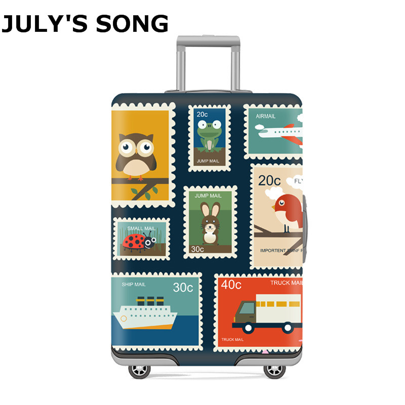 JULY'S SONG Stamp Luggage Suitcase Protective Cover For18-32 Inch Protect Dust Bag Case Cartoon Travel Elastic Cover Luggage