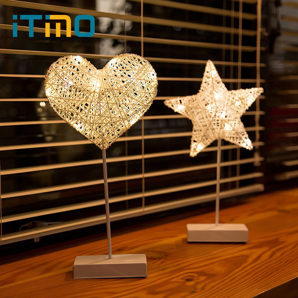 iTimo Star Heart Shape Table Lamp  Grass Rattan Woven Night Light Battery Powered Warm White Bedroom Decoration For GirlfriendiTimo Star Heart Shape Table Lamp  Grass Rattan Woven Night Light Battery Powered Warm White Bedroom Decoration For Girlfriend