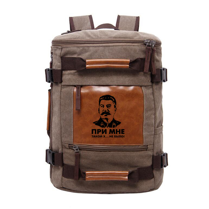There was no such shit with me USSR leader Stalin Canvas Backpack Men Travel Shoulderbag Large