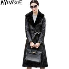 AYUNSUE Women Real Sheepskin Coat Long Warm Genuine Leather Jacket Parka Mink Fur Collar Plus Size 5XL Chaqueta Mujer WYQ843