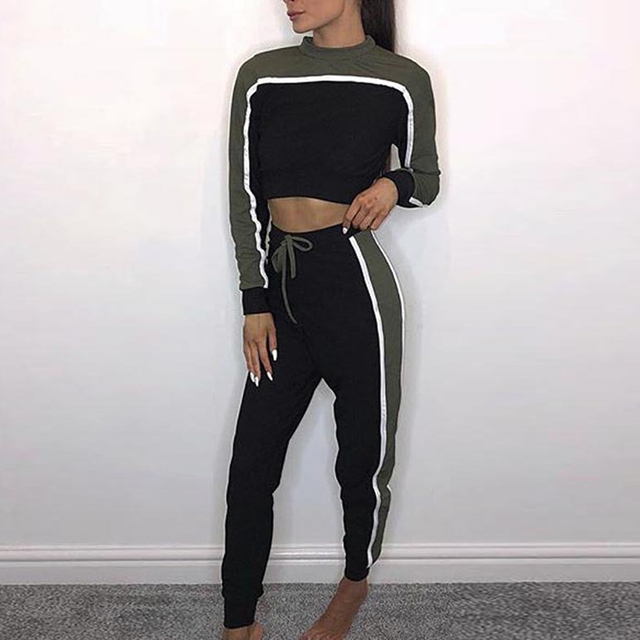 b0ad8ed305 US $22.66 22% OFF|Aliexpress.com : Buy Women Tracksuit Patchwork Stripe  Cropped Outfits Crop Top Set Women Two Piece Set Top And Pants Lounge Wear  ...