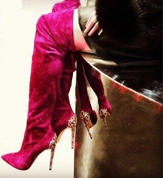 Real Photo Hot Selling Puntschoen Zwart Rode Suède Gold-tone Barokke Decoratie Hak Over De Knie Laarzen Hoge Hak pomp