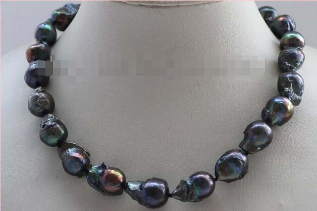 Genuine Natural 21mm Black Baroque Reborn Keshi Pearl Necklace 14KGP #f2428! цена