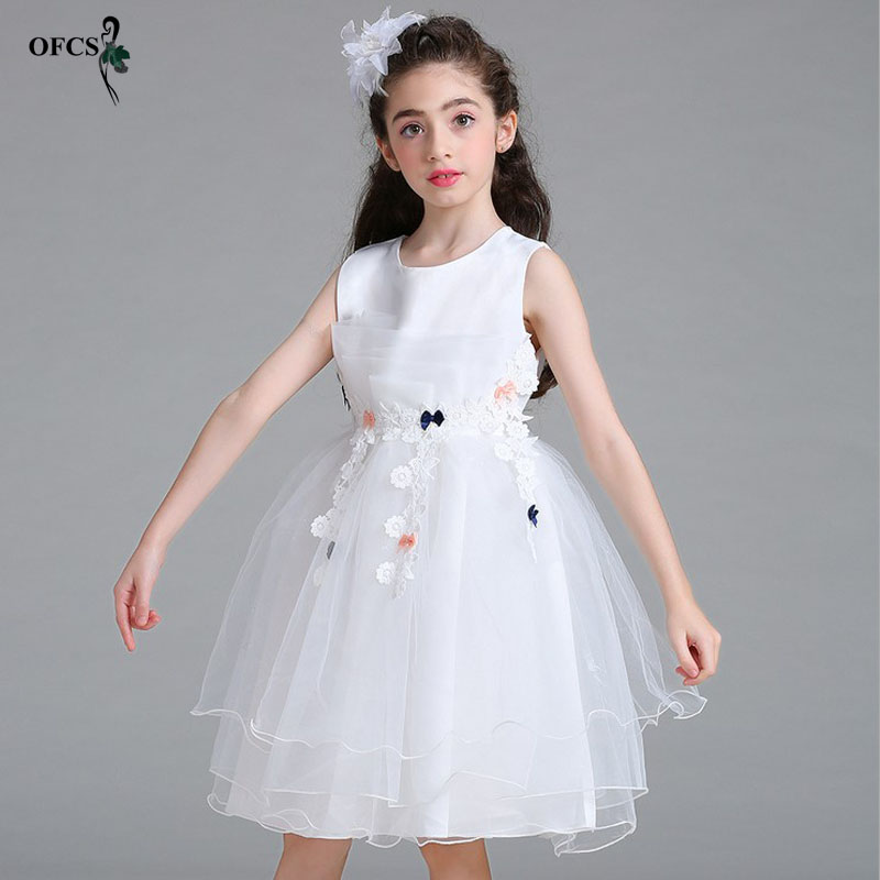 2018 New OFCS Retail 2 Color Arrival Summer Baby Girls Dress Wedding Dress White After Short Before Long Lace Cute Dress 3-10 T