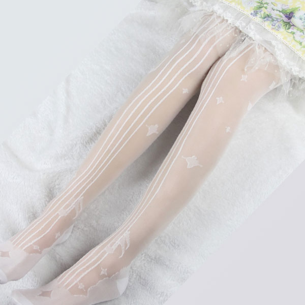 Sweet Women's Summer Long Stockings ~ Cello In The Stars Patterned Lolita Thigh High Stockings By Yidhra