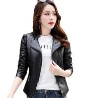 Plus size S 6XL Fashion Autumn Winter Leather Women Coat PU Motorcycle Biker Jacket Short Slim Leather Jacket Women Clothing 876