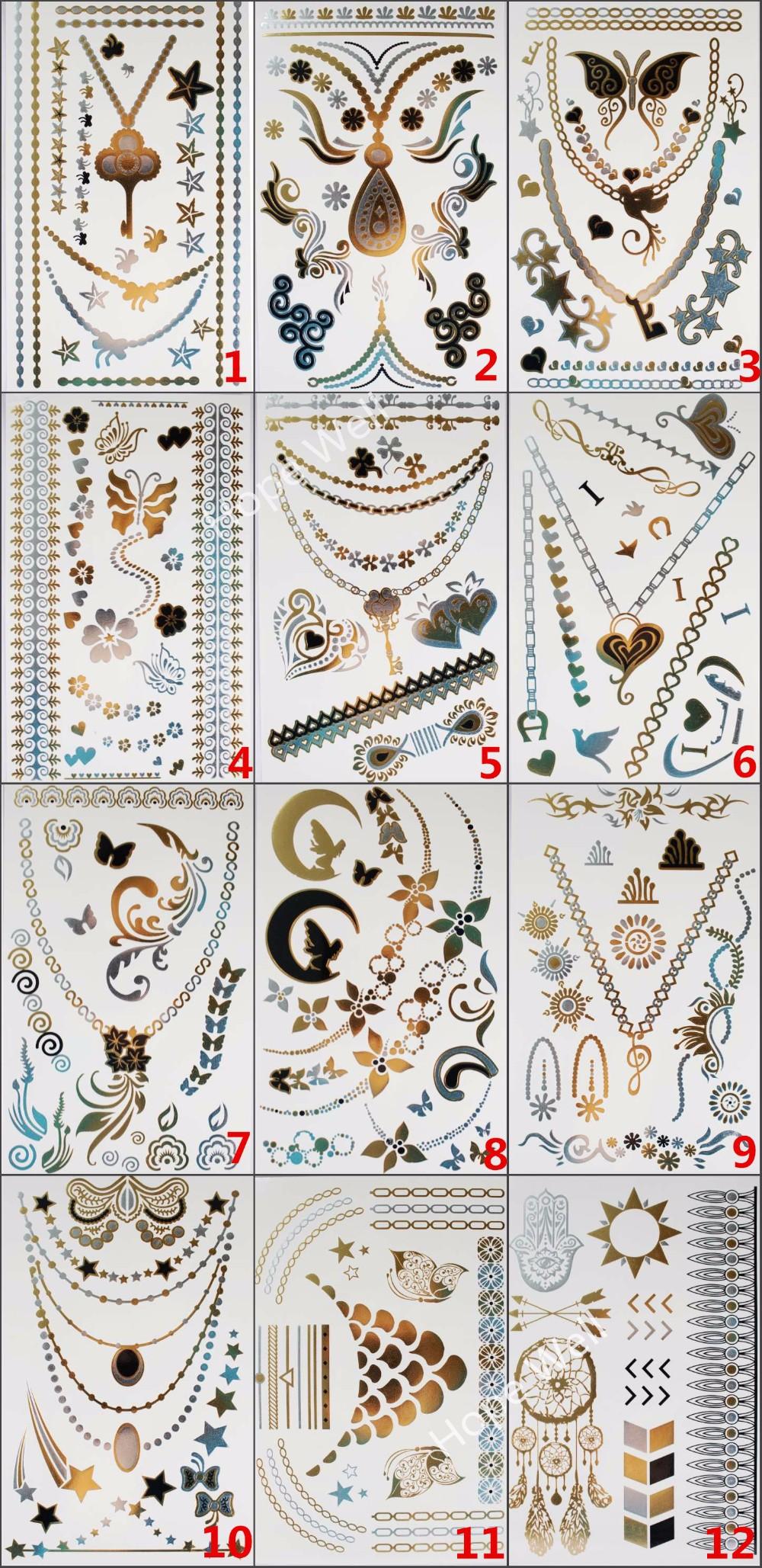 4pcs/lot Temporary Gold Flash Tattoo Metalic Jewelry Tatoo Sticker Multi Pattern for Choose tatuagem tatuaje Body Art 1