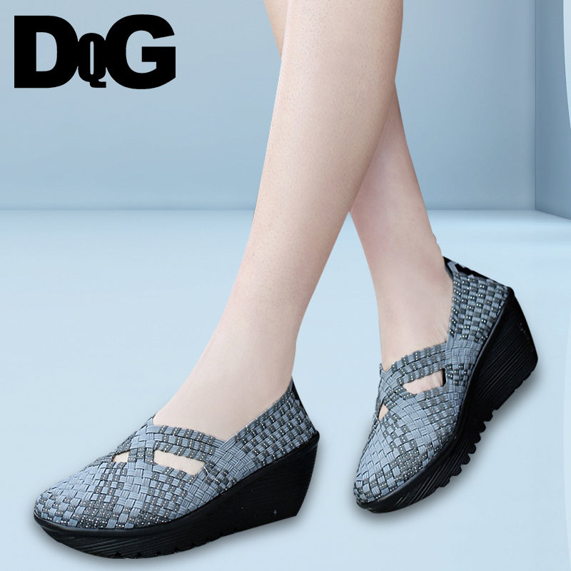 DQG 2018 Spring Woven Women shoes Casual Slip On Ladies Zapatillas Flat Platform Shallow Zapatos Mujer Flats Chaussures Femme все цены
