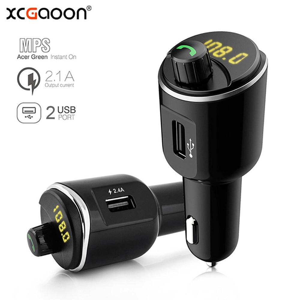 XCGaoon Bluetooth Car Kit Handsfree Set FM Transmitter MP3 Music Player 5V 2.1A Dual 2 USB Car Charger Support USB Music|Bluetooth Car Kit|Automobiles & Motorcycles - title=