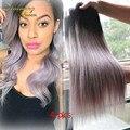 Серый бразильский девственные волосы прямые волосы переплетения 4 шт./лот ломбер серебряный цвет волос 1b / серый два тона ломбер наращивание волос