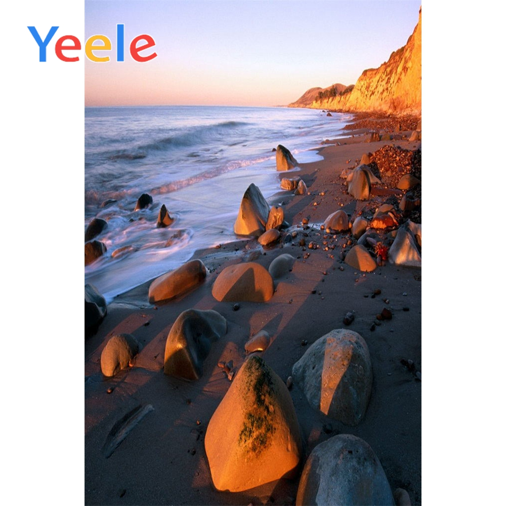 Yeele Modern Simple Seaside Landscape Stones Photography Backdrops Sand Wallpapers of Photographic Backgrounds For Photo Studio