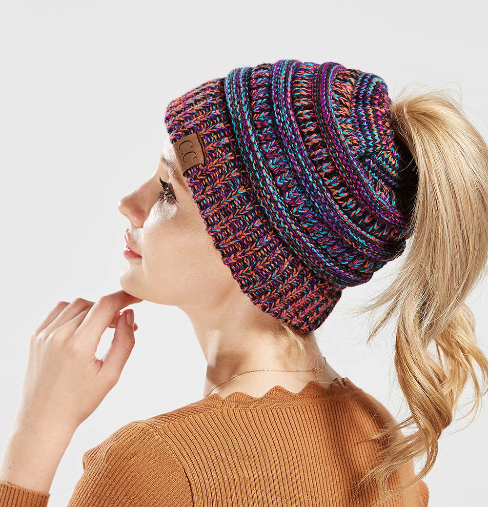 d98b029ad1cdd CC Ponytail Beanie Hat Women Crochet Knit Cap Winter Skullies Beanies Warm Caps  Female Knitted Stylish Hats For Ladies Fashion